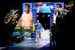 LONDON, ENGLAND - NOVEMBER 11: Rafael Nadal of Spain walks out prior to his singles match against Alexander Zverev of Germany during Day Two of the Nitto ATP World Tour Finals at The O2 Arena on November 11, 2019 in London, England. (Photo by Julian Finney/Getty Images)