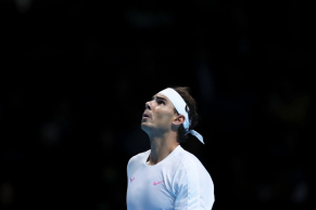 LONDON, ENGLAND - NOVEMBER 11: Rafael Nadal of Spain reacts in his singles match against Alexander Zverev of Germany during Day Two of the Nitto ATP World Tour Finals at The O2 Arena on November 11, 2019 in London, England. (Photo by Naomi Baker/Getty Images)