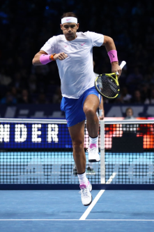 LONDON, ENGLAND - NOVEMBER 11: Rafael Nadal of Spain warms up prior to his singles match against Alexander Zverev of Germany during Day Two of the Nitto ATP World Tour Finals at The O2 Arena on November 11, 2019 in London, England. (Photo by Julian Finney/Getty Images)