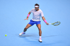LONDON, ENGLAND - NOVEMBER 11: Rafael Nadal of Spain plays a forehand in his singles match against Alexander Zverev of Germany during Day Two of the Nitto ATP World Tour Finals at The O2 Arena on November 11, 2019 in London, England. (Photo by Justin Setterfield/Getty Images)
