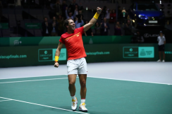 MADRID, SPAIN - NOVEMBER 23: Rafael Nadal of Spain, playing partner of Feliciano Lopez celebrates following their victory in the semi-final doubles match against Jamie Murray and Neal Skupski of Great Britain during Day 6 of the 2019 Davis Cup at La Caja Magica on November 23, 2019 in Madrid, Spain. (Photo by Clive Brunskill/Getty Images for LTA)