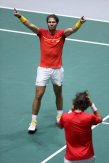MADRID, SPAIN - NOVEMBER 23: Rafael Nadal of Spain, playing partner of Feliciano Lopez celebrates following their victory in the semi-final doubles match against Jamie Murray and Neal Skupski of Great Britain during Day 6 of the 2019 Davis Cup at La Caja Magica on November 23, 2019 in Madrid, Spain. (Photo by Alex Pantling/Getty Images)
