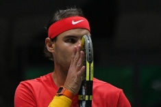 6084820 23.11.2019 Spain's Rafael Nadal reacts during his semi-final tennis doubles match with Feliciano Lopez against Britian's Jamie Murray and Neal Skupski at the Davis Cup Finals tournament in Madrid, Spain. Vladimir Pesnya / Sputnik