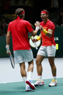 MADRID, SPAIN - NOVEMBER 23: Rafael Nadal of Spain and Feliciano Lopez of Spain celebrate in their semi-final doubles match against Jamie Murray and Neal Skupski of Great Britain during Day 6 of the 2019 Davis Cup at La Caja Magica on November 23, 2019 in Madrid, Spain. (Photo by Clive Brunskill/Getty Images for LTA)