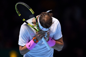 LONDON, ENGLAND - NOVEMBER 11: Rafael Nadal of Spain reacts in his singles match against Alexander Zverev of Germany during Day Two of the Nitto ATP World Tour Finals at The O2 Arena on November 11, 2019 in London, England. (Photo by Justin Setterfield/Getty Images)