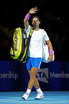 LONDON, ENGLAND - NOVEMBER 11: Rafael Nadal of Spain waves to the crowd as he leaves the court after his singles match against Alexander Zverev of Germany during Day Two of the Nitto ATP World Tour Finals at The O2 Arena on November 11, 2019 in London, England. (Photo by Julian Finney/Getty Images)