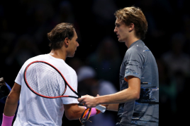 LONDON, ENGLAND - NOVEMBER 11: Rafael Nadal of Spain shakes hands at the net with Alexander Zverev of Germany after their singles match during Day Two of the Nitto ATP World Tour Finals at The O2 Arena on November 11, 2019 in London, England. (Photo by Julian Finney/Getty Images)