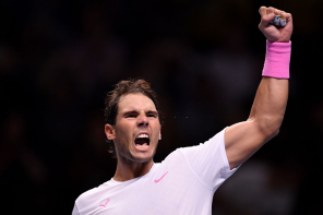 LONDON, ENGLAND - NOVEMBER 13: Rafael Nadal of Spain celebrates victory after his singles match against Daniil Medvedev of Russia during Day Four of the Nitto ATP World Tour Finals at The O2 Arena on November 13, 2019 in London, England. (Photo by Justin Setterfield/Getty Images)