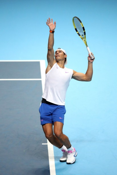 LONDON, ENGLAND - NOVEMBER 08: Rafael Nadal of Spain serves in a practice session during previews for the Nitto ATP World Tour Finals at The O2 Arena on November 08, 2019 in London, England. (Photo by Alex Pantling/Getty Images)