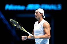 LONDON, ENGLAND - NOVEMBER 08: Rafael Nadal of Spain in a practice session during previews for the Nitto ATP World Tour Finals at The O2 Arena on November 08, 2019 in London, England. (Photo by Alex Pantling/Getty Images)