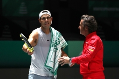 MADRID, SPAIN - NOVEMBER 18: Rafael Nadal of Spain speaks with his coach as he trains ahead of Day one of the 2019 David Cup at La Caja Magica on November 18, 2019 in Madrid, Spain. (Photo by Alex Pantling/Getty Images)