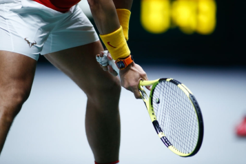 MADRID, SPAIN - NOVEMBER 20: Ilustration, Racket of Rafael Nadal of Spain while he waits for action during his doubles match played with Marcel Granollers against Ivan Dodig and Mate Pavic of Croatia during the Day 3 of the 2019 Davis Cup at La Caja Magica on November 20, 2019 in Madrid, Spain. (Photo by Oscar J. Barroso / AFP7 / Europa Press Sports via Getty Images)