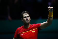 MADRID, SPAIN - NOVEMBER 20: Rafael Nadal of Spain celebrates the victory after his match played against Borna Gojo of Croatia during the Day 3 of the 2019 Davis Cup at La Caja Magica on November 20, 2019 in Madrid, Spain. (Photo by Oscar J. Barroso / AFP7 / Europa Press Sports via Getty Images)