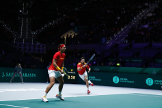 MADRID, SPAIN - NOVEMBER 20: Rafael Nadal and Marcel Granollers of Spain in action during their doubles match played against Ivan Dodig and Mate Pavic of Croatia during the Day 3 of the 2019 Davis Cup at La Caja Magica on November 20, 2019 in Madrid, Spain. (Photo by Oscar J. Barroso / AFP7 / Europa Press Sports via Getty Images)