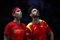 MADRID, SPAIN - NOVEMBER 20: Rafael Nadal and Marcel Granollers of Spain looks to the Hawk eye during their doubles match played against Ivan Dodig and Mate Pavic of Croatia during the Day 3 of the 2019 Davis Cup at La Caja Magica on November 20, 2019 in Madrid, Spain. (Photo by Oscar J. Barroso / AFP7 / Europa Press Sports via Getty Images)