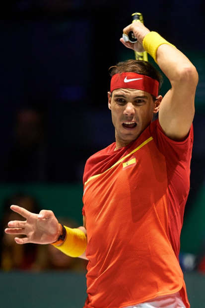 MADRID, SPAIN - NOVEMBER 20: Rafa Nadal of Spain in action during his game against Borna Gojo of Croatia during Day Three of the 2019 Davis Cup at La Caja Magica on November 20, 2019 in Madrid, Spain. (Photo by David Aliaga/MB Media/Getty Images)