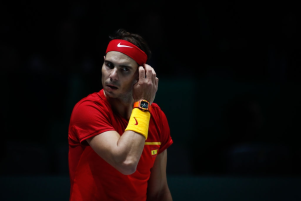 MADRID, SPAIN - NOVEMBER 20: Rafael Nadal of Spain looks on during his match played against Borna Gojo of Croatia during the Day 3 of the 2019 Davis Cup at La Caja Magica on November 20, 2019 in Madrid, Spain. (Photo by Oscar J. Barroso / AFP7 / Europa Press Sports via Getty Images)