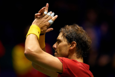 MADRID, SPAIN - NOVEMBER 20: Rafa Nadal of Spain celebrates the victory during his game against Borna Gojo of Croatia during Day Three of the 2019 Davis Cup at La Caja Magica on November 20, 2019 in Madrid, Spain. (Photo by David Aliaga/MB Media/Getty Images)
