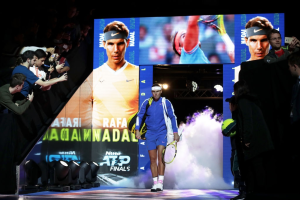 LONDON, ENGLAND - NOVEMBER 15: Rafael Nadal of Spain walks out prior to his singles match against Stefanos Tsitsipas of Greece during Day Six of the Nitto ATP World Tour Finals at The O2 Arena on November 15, 2019 in London, England. (Photo by Justin Setterfield/Getty Images)