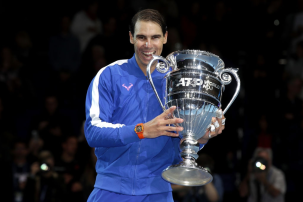 LONDON, ENGLAND - NOVEMBER 15: Rafael Nadal of Spain poses with his trophy after being announced as ATP Tour end of year world number one following his singles match against Stefanos Tsitsipas of Greece during Day Six of the Nitto ATP World Tour Finals at The O2 Arena on November 15, 2019 in London, England. (Photo by Julian Finney/Getty Images)