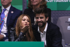MADRID, SPAIN - NOVEMBER 24: Singer Shakira (L) and her husband and footballer Gerard Pique of FC Barcelona (R) react in the stands as they watch the singles final match between Rafael Nadal of Spain and Denis Shapovalov of Canada during Day Seven of the 2019 Davis Cup at La Caja Magica on November 24, 2019 in Madrid, Spain. (Photo by Alex Pantling/Getty Images)