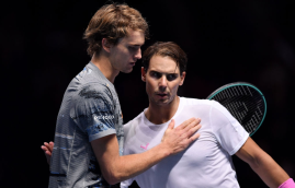 LONDON, ENGLAND - NOVEMBER 11: Rafael Nadal of Spain and Alexander Zverev of Germany embrace at the net after their singles match during Day Two of the Nitto ATP World Tour Finals at The O2 Arena on November 11, 2019 in London, England. (Photo by Justin Setterfield/Getty Images)